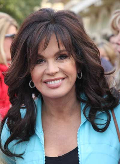 Marie Osmond Long, Curly, Brunette Hairstyle with Bangs
