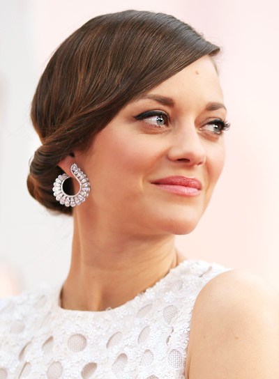 Marion Cotillard with a Medium, Brunette, Chic, Updo Hairstyle Pictures