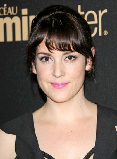 Melanie Lynskey's Wavy, Brunette, Updo Hairstyle with Bangs