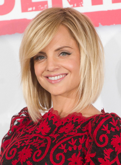 Mena Suvari's Medium, Edgy, Straight Hairstyle with Bangs