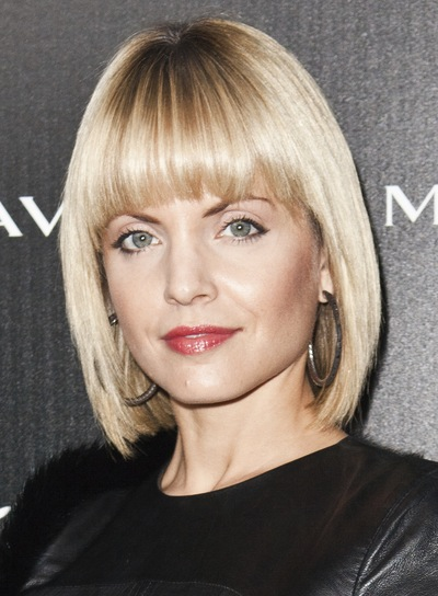 Mena Suvari Short, Straight, Edgy, Chic, Blonde Bob with Bangs