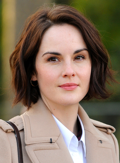 Michelle Dockery's Medium, Wavy, Brunette, Chic Hairstyle