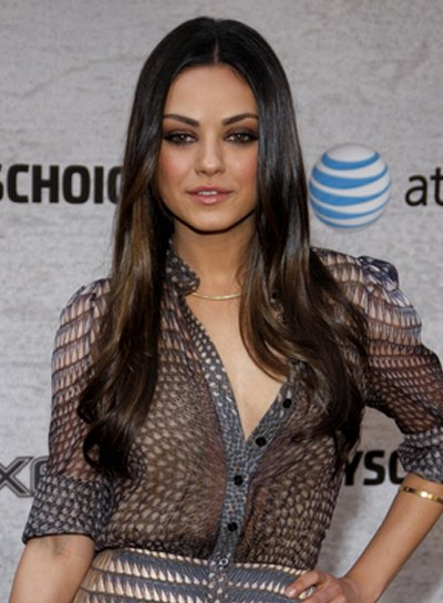 Mila Kunis Long, Layered, Sexy, Brunette Hairstyle