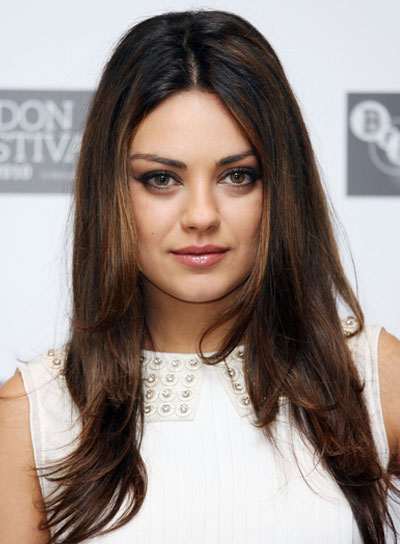 Mila Kunis Long, Straight, Sophisticated, Brunette Hairstyle