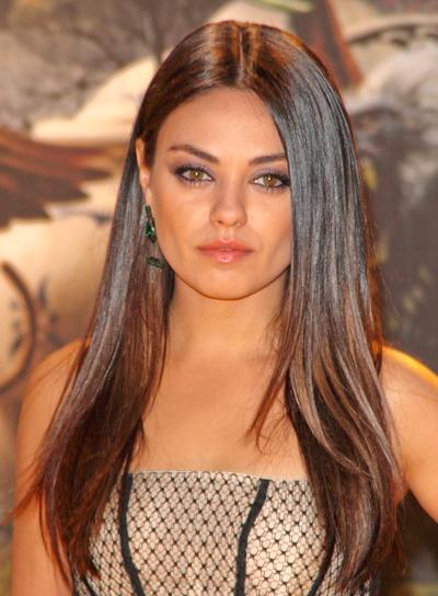 Mila Kunis' Straight, Chic, Long, Brunette Hairstyle