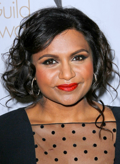 Mindy Kaling's Romantic, Tousled, Wavy, Updo Hairstyle