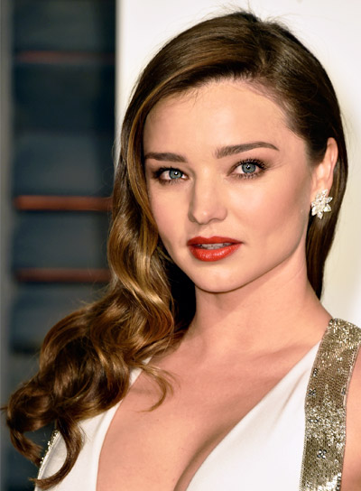 Miranda Kerr Long, Wavy, Brunette, Formal Hairstyle