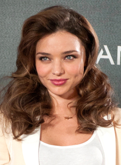 Miranda Kerr's Long, Wavy, Brunette, Party Hairstyle