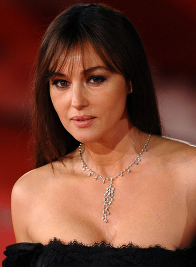Monica Bellucci Long, Straight, Brunette Hairstyle with Bangs
