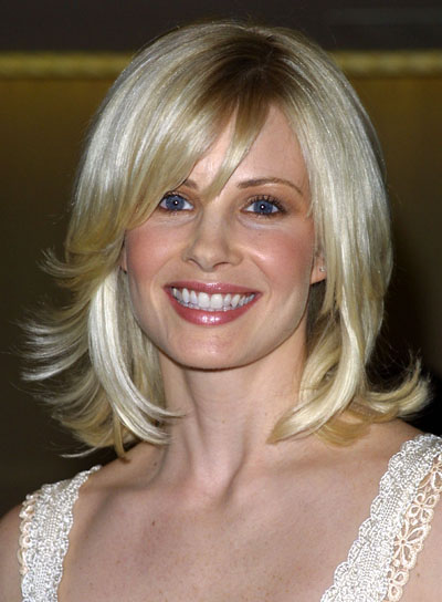 Monica Potter Medium-Length, Blonde, Shag Hairstyle