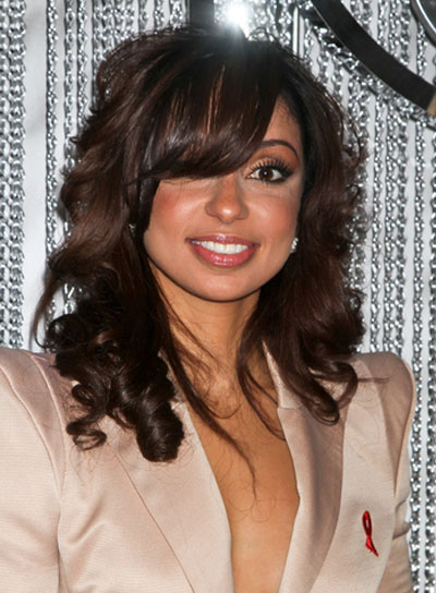 Mya Medium, Curly, Sophisticated, Black Hairstyle with Bangs