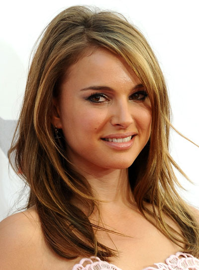 Natalie Portman Medium, Straight, Layered Hairstyle