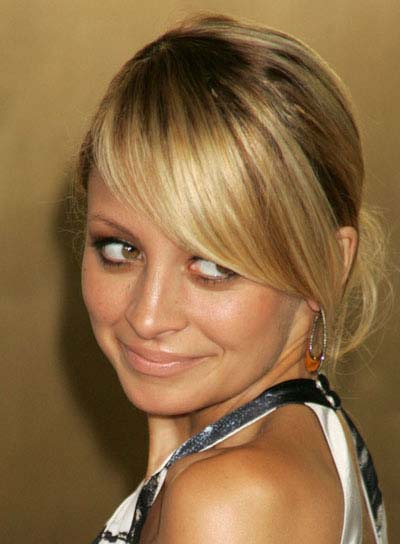 Nicole Richie Long, Blonde Updo with Bangs