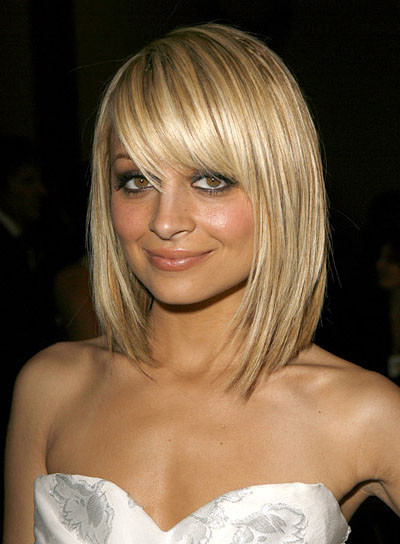 Nicole Richie Sexy, Medium-Length, Straight, Blonde Bob