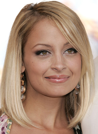 Nicole Richie Sophisticated, Medium-Length, Straight, Blonde Bob