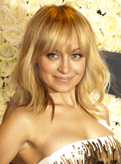 Nicole Richie Medium, Wavy, Tousled, Blonde Hairstyle