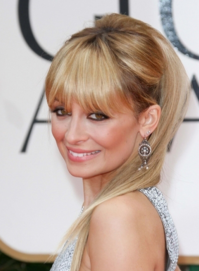 Nicole Richie Straight, Chic, Funky, Blonde, Party Updo with Bangs