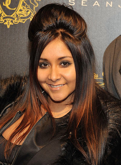 "Nicole ""Snooki"" Polizzi Long, Straight, Brunette Hairstyle"