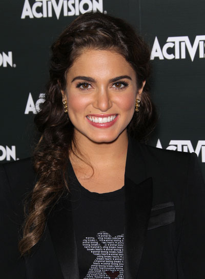 Nikki Reed Long, Curly, Brunette Hairstyle with Braids and Twists