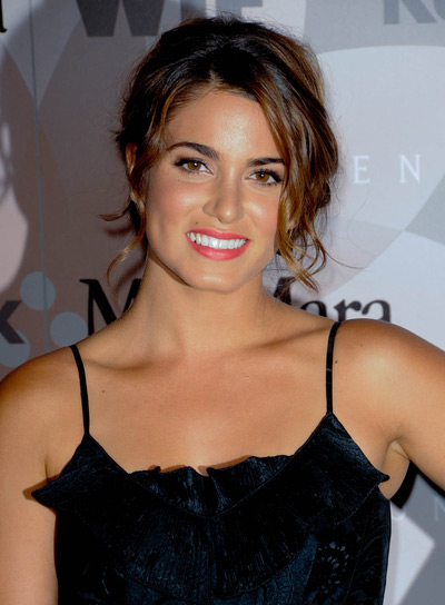 Nikki Reed Sophisticated, Curly, Brunette Updo