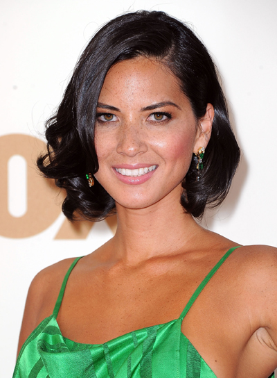Olivia Munn Curly, Black Bob