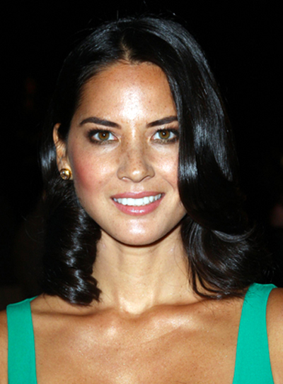 Olivia Munn's Romantic, Wavy, Medium, Brunette Hairstyle