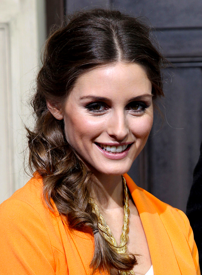 Olivia Palermo's Long, Brunette, Tousled Hairstyle with Braids and Twists