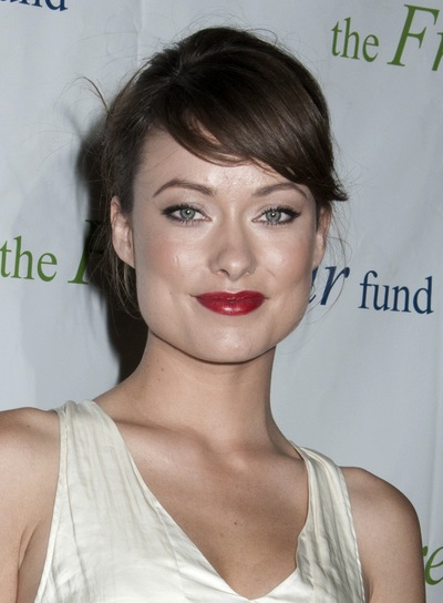 Olivia Wilde Brunette Updo with Bangs