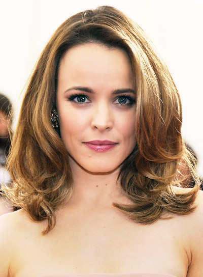 Rachel McAdams Medium, Layered, Brunette, Sophisticated Hairstyle