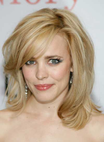 Rachel McAdams Medium, Straight, Sophisticated, Blonde Updo with Bangs