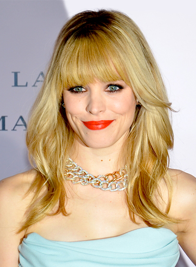Rachel McAdams' Medium, Blonde, Chic, Layered Hairstyle with Bangs