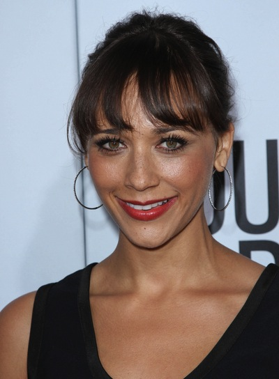Rashida Jones Chic, Brunette Updo with Bangs