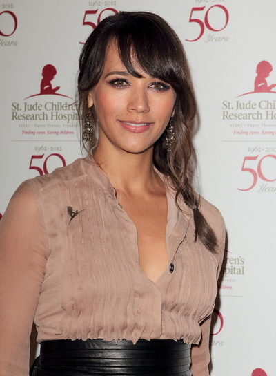 Rashida Jones Chic, Brunette Updo with Braids and Twists with Bangs