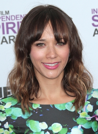 Rashida Jones Medium, Wavy, Brunette Hairstyle with Bangs