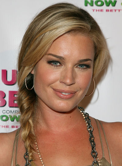 Rebecca Romijn Medium, Chic, Blonde Hairstyle with Braids and Twists