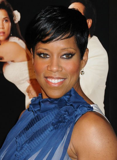 Regina King Short, Straight, Chic, Black Hairstyle with Bangs