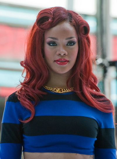 Rihanna Long, Curly, Funky, Red Hairstyle with Braids and Twists
