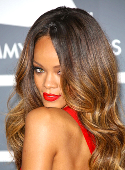 Rihanna's Sexy, Long, Wavy Hairstyle with Highlights