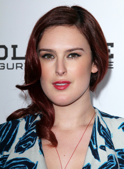 Rumer Willis Medium, Curly, Red Hairstyle