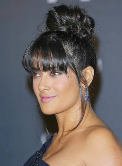 Salma Hayek's Chic, Black, Updo Hairstyle with Bang