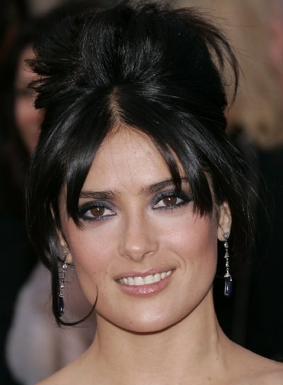 Salma Hayek Romantic Updo for Square Faces