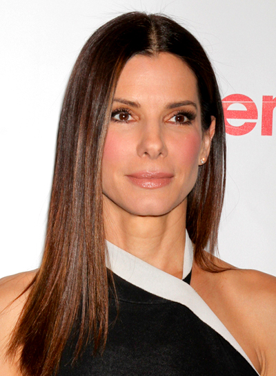 Sandra Bullock's Long, Straight, Brunette, Chic Hairstyle