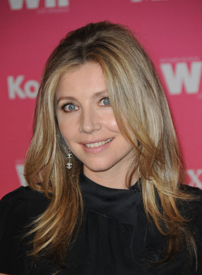 Sarah Chalke Medium, Layered, Straight, Blonde Hairstyle
