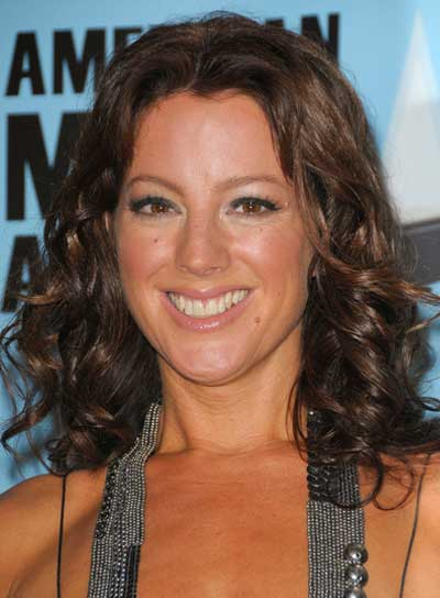 Sarah McLachlan Medium, Brunette, Curly Hairstyle