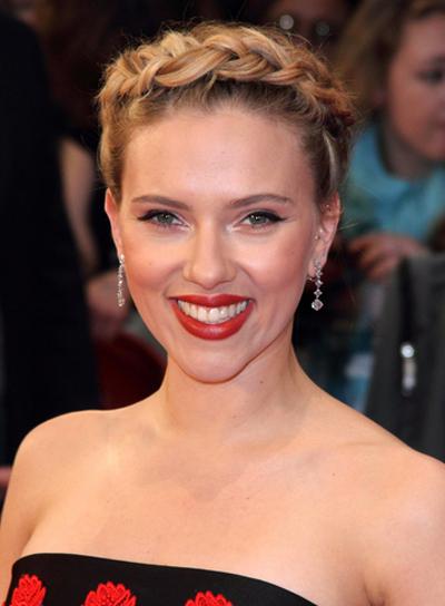 Scarlett Johansson's Romantic, Blonde, Updo, Braid and Twists Hairstyle