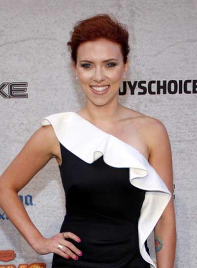Scarlett Johansson Tousled, Red Updo
