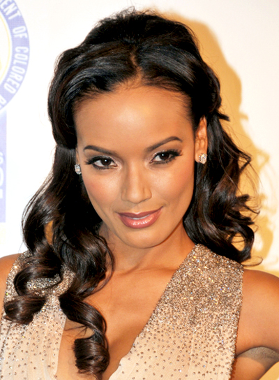 Selita Ebanks' Long, Brunette, Curly, Half Updo Hairstyle