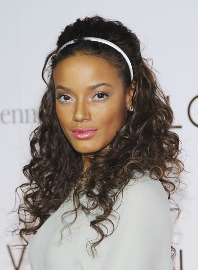 Selita Ebanks Long, Curly, Sexy, Black Half Updo