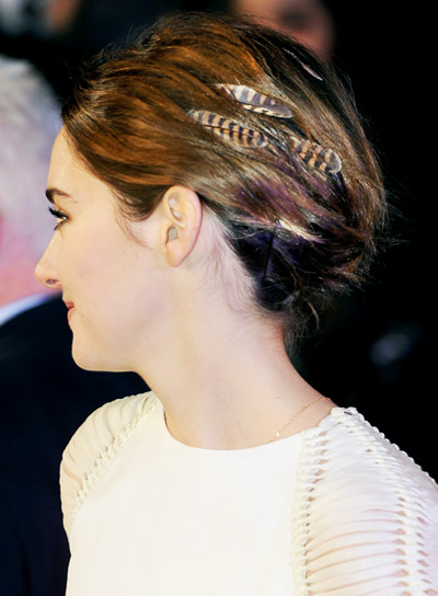 Shailene Woodley with a Short, Brunette, Funky, Updo Hairstyle