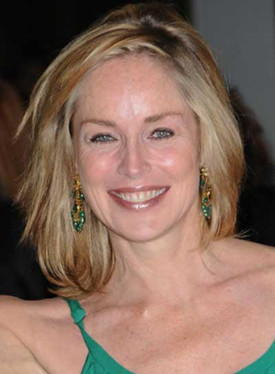Sharon Stone Medium, Straight, Tousled, Blonde Hairstyle